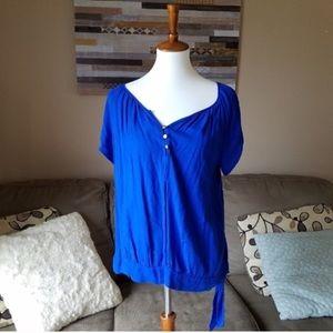 Apt 9 Blue Side Tie Top